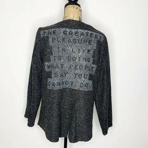 Luukaa Art Wear Statement Cardigan Sweater Gray
